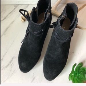 SPLENDID Black Suede Leather Lace Up Booties 7.5